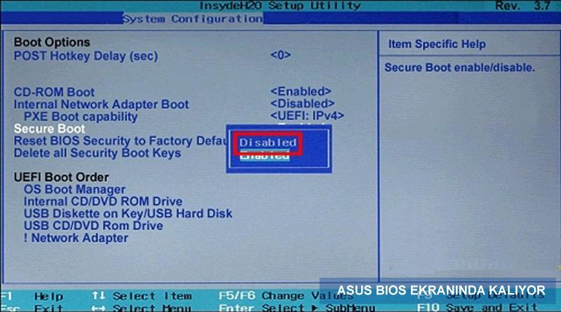 Asus Bios Ekranında Kalıyor